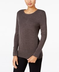 Jm Collection Crew Neck Button Cuff Sweater Only At Macy's Charcoal Heather