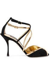 Dolce And Gabbana Metallic Leather Trimmed Suede Sandals Black