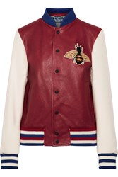 Gucci Appliqued Leather And Wool Bomber Jacket Claret