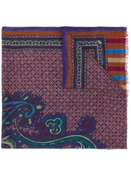 Etro Paisley And Tile Print Scarf Purple