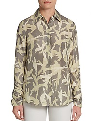 Minnie Rose Camo Print Silk Blouse Tan Beige