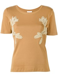 See By Chloe Embroidered T Shirt Women Cotton M Brown