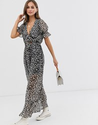 Influence Leopard Print Maxi Dress With Tie Front Detail Grey