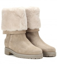 Loro Piana Abigail Fur And Suede Boots Neutrals
