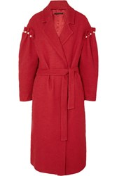 Mother Of Pearl Webb Faux Embellished Cotton Tweed Coat Red