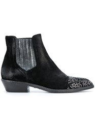 Fausto Zenga Embellished Toecap Chelsea Boots Leather Suede Rubber Black
