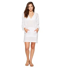 Seafolly Hooded Crinkle Twill Cover Up White Women's Swimwear