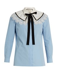 Gucci Lace Trimmed Neck Tie Cotton Shirt Blue