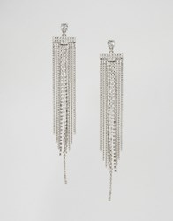 Lipsy Crystal Statement Fringe Earrings Gold