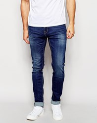 Only And Sons Vintage Wash Jeans In Super Skinny Fit Blue