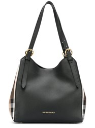 Burberry Small Canter Tote Women Cotton Leather One Size Brown