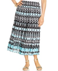 Jm Collection Plus Size Printed Tiered Maxi Skirt Batik Mirror