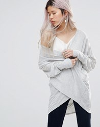 Wal G Top With Wrap Front Grey