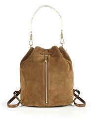 Elizabeth And James Cynnie Sling Suede And Python Embossed Leather Backpack