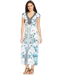 Styleandco. Style And Co. Petite Flutter Sleeve Printed Maxi Dress Only At Macy's Chilled To The Core Blue