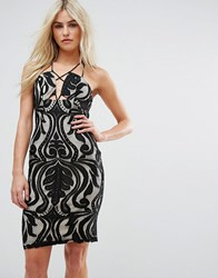 Love Triangle Lace Dress With Cross Front Multi Strap Detail Black