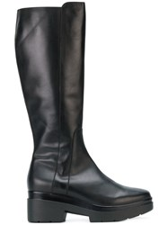Albano Chunky Zipped Boots Calf Leather Leather Rubber Black