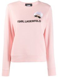 Karl Lagerfeld K Ikonik Embroidered Sweatshirt Pink