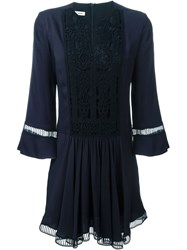 Dondup Embroidered Smock Dress Blue