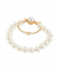 Majorica 8Mm Simulated Pearl Clasp Bracelet White