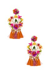 Mercedes Salazar Flower Statement Earrings Orange