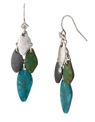 Robert Lee Morris Patina Mixed Bead Chandelier Earrings Patina Blue