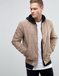 New Look Faux Suede Bomber In Tan Tan