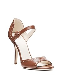 Frances Valentine Rebecca Stitched Open Toe High Heel Sandals Tobacco