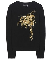 Chloe Embellished Wool And Cashmere Sweater Black