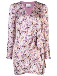 Alexis Kari Floral Print Wrap Dress Purple