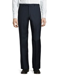 Neiman Marcus Wool Straight Leg Trousers Brown