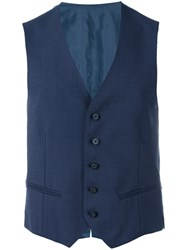 Tonello Fitted Waistcoat Men Cotton Mohair Virgin Wool 50 Blue