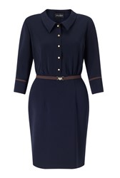 James Lakeland Bicolor Shirt Dress Navy
