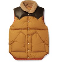 Rocky Mountain Featherbed Slim Fit Leather And Shearling Trimmed Shell Down Gilet Yellow