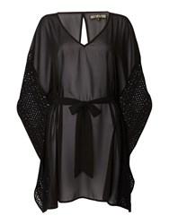 Biba Crochet Trim Cover Up Black
