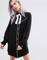 Lazy Oaf Dead Inside Shirt Dress With Cowboy Collar Black
