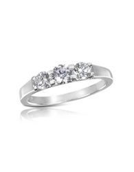 Forzieri 0.64 Ctw Diamond Three Stone 18K Gold Ring White Gold