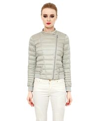 Add Diagonal Zip Quilted Nylon Down Jacket Grey