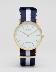 Reclaimed Vintage Navy Stripe Canvas Watch With White Dial Navywhite
