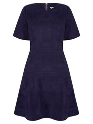 Yumi Suedette Fit And Flare Dress Navy