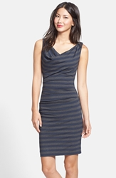 Nicole Miller Stripe Cowl Neck Jersey Body Con Dress Blue Grey