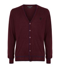 Alexander Mcqueen Contrast Trimmed Cashmere Cardigan Male Red