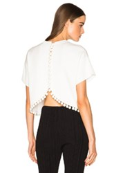 Proenza Schouler Double Face Silk Knit Crop Top In White