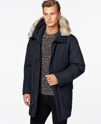 Calvin Klein Faux Fur Hooded Jacket Navy