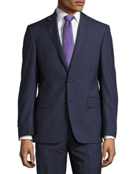 Dkny Check Print Slim Fit Two Piece Suit Blue