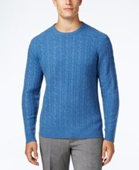 Club Room Men's Cable Knit Cashmere Sweater Only At Macy's Shark Eye Heather