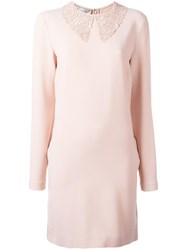 Stella Mccartney Floral Lace Overlay Dress Pink Purple
