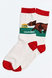 Urban Outfitters California Sock Neutral Multi
