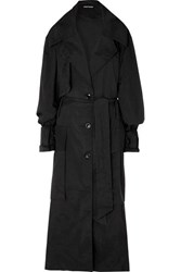 House Of Holland Oversized Printed Ripstop Trench Coat Black