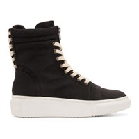 D By D Black Double Lace High Top Sneakers